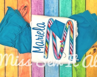 Kite Appliqued Initial Shirt with Name