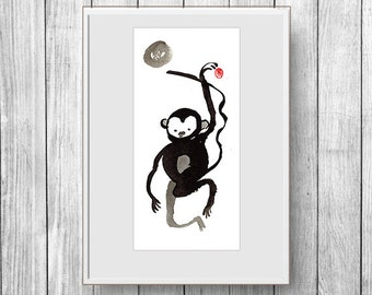 Monkey, Year of the Monkey zen painting, Chinese New Year, Zen Chinese Zodiac, japan scroll, red envelope, baby announcement, nursery art