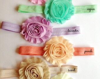 Pastel Colors Headband Set...Baby Headbands...Shabby Rose Headband Set...6 Pastel shabby rose headbands