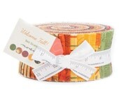 "WELCOME FALL Jelly Roll - 2.5"" Inch Fabric Strips - Deb Strain for Moda - Autumn Fall Fabric - Fall Leaves Pumpkins Gourds Harvest Fabric"