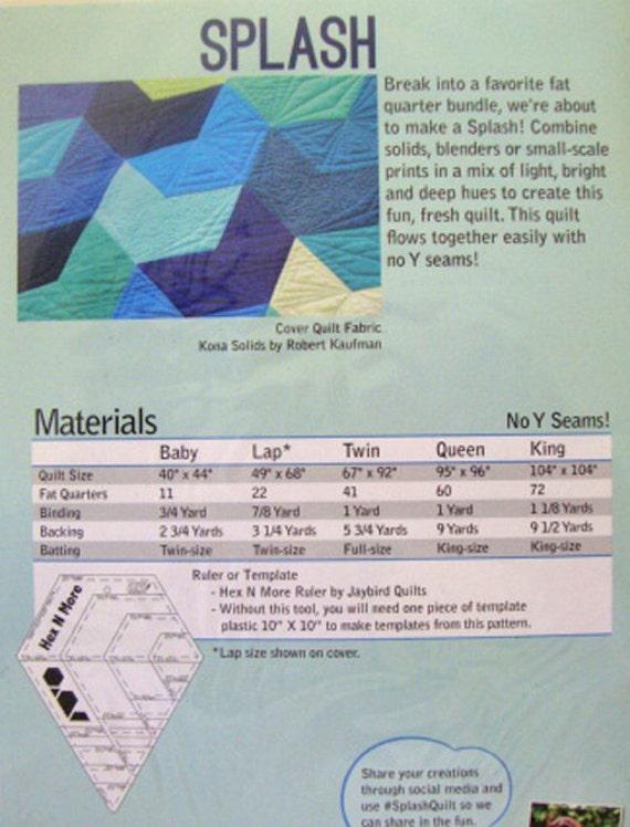 SPLASH Quilt Pattern - Jaybird Quilts - Hex N More Pattern - Modern Quilt Pattern - Contemporary ...