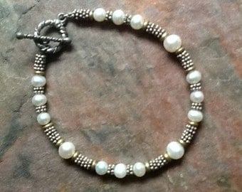 Bridal White Pearl Bracelet,  White Pearl Sterling Bracelet, Girlfriend White Pearl Bracelet, Pearl Jewelry