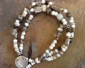 Vintage Afican Trade Bead Bracelet, Neutral Color Bracelet, Vintage Ethnic Bead Bracelet, African Masai Bracelet, Multi Strand Br