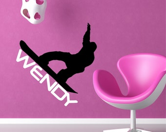 Personalized Snowboarder Wall Decal Removable Snowboarding Wall Sticker