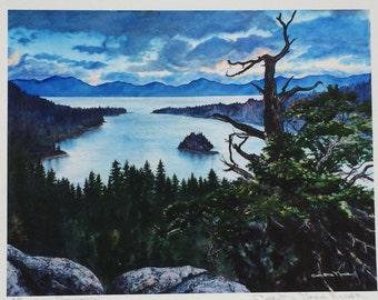 Emerald Bay Lake Tahoe Fine Art Giclee Print of Watercolor Fine Art Giclee Print by Christie Marie Art