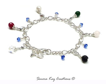 Silver Plated Base Metal Purity Charm Bracelet  with Detachable Gemstone Charms Lava and Jade style Custom Made to Order