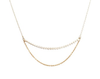 Cosmic necklace, Sterling silver, 14K solid yellow gold