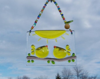 Love Birds // Yellow Birds of Happiness // Fused Glass Suncatcher // Ornament // Sun Catcher // Finch// Canary// Anniversary// Wedding//Cute