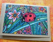 Greetings card, Ladybird/Ladybug from original drawing