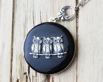 Owls necklace Locket - Perfect gift for friends, family, mother day, anniversary, wedding gift.