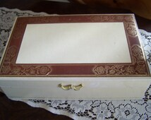 Vintage Mele Leatherette Jewelry Box, Ivory & Saddle Tan, Gold Embossed, Jewelry Chest, Mid Century, 1950s