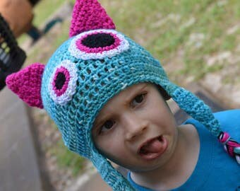 Aqua and Pink Monster Beanie