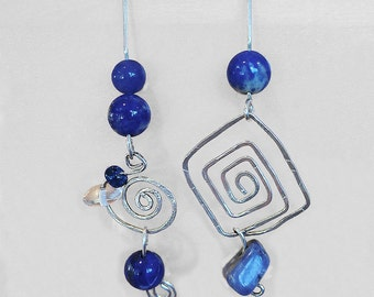 Two Unique yet Complimentary Hand-Hammered Curled Sterling Silver, Lapis, and Sodalite, Dangle Earrings w Blue and Clear Glass Beads