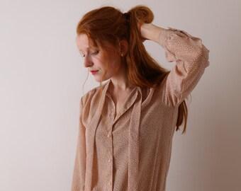 Peach Japanese secretary blouse, vintage, small