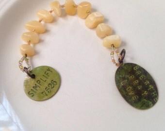Prayer beads - Worry Beads - Meditation - Natural Stone - Breathe - Pray - Love - Simplify - Custom Message - Decade Rosary - Anxiety Reduce