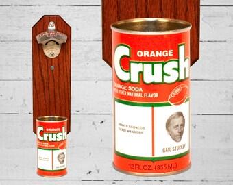 UnitedInOrange Denver Broncos Bottle Opener with Vintage Orange Crush Bronco Can Cap Catcher Gail Stuckey