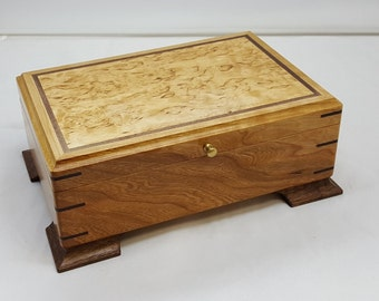 stunning Valet box/ jewelry box Cherry with Karelian Birch lid