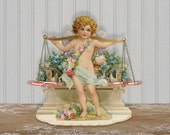 Vintage PoP Up Cherub Valentine Fold Out Cupid Valentine Scales The Weight Of Love Folding Digital Clip Art Collage Sheet Raphael Tuck