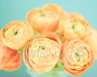 Ranunculus Print, Pastel Wall Art, Orange, Blue, Flower Photography, Bedroom Wall Art, Tangerine