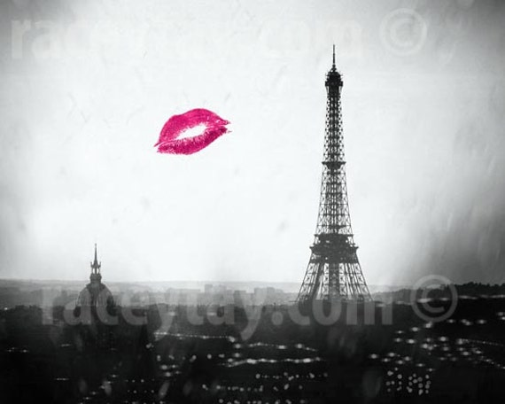 Black and White, Paris Photography, Eiffel Tower Prints, Paris Skyline, Red Kiss, Eiffel Tower Paris