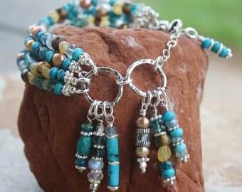 OOAK 4-Strands Turquoise & Pearls Bracelet, Handmade Boho Chic, Extreme Dangles, Wearable Art, Handcrafted Artisan Sterling Silver Bracelet