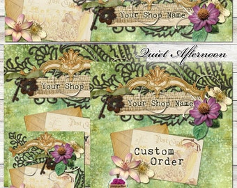 "New Sizes! Etsy Shop Set ""Quiet Afternoon"" One-of-a-kind Images - purple, green, flower, garden, rustic, tattered, branding, vintage, rusty,"