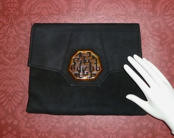 Vintage Black Suede Clutch Handbag Faux Tortoise-Shell Medallion Art Deco Chinese Character w/ Mirror & Coin Purse
