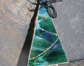 RESERVED for Heidi - Iridescent Green Stained Glass Copper Christmas Tree Ornament
