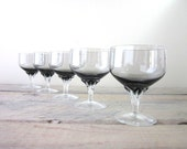 Smokey Gray Crystal Stemmed Cocktail Glasses Set of Five