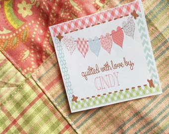 Heart Banner Fabric Quilt Label Set of 20