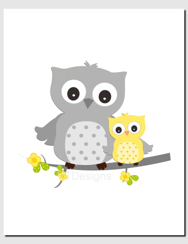 Yellow Gray Wall Art Baby Boy Nursery Baby Girl Nursery Owl