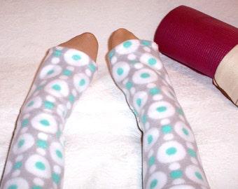 Dance or Yoga Socks, Ankle Warmers, Fleece Yoga Socks, Open Toed Pedicure Socks, Warm Yoga Socks, Dance Work Out Socks, Yogie Gift for Her