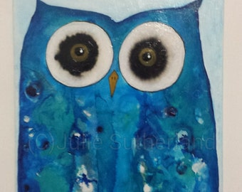 Original Colourful Owl Painting by Artist Julie Sutherland Perth W.A.