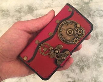 Handmade leather iPhone 5 case,leather iPhone 5S cover,red leather case for iPhone 5SE,steampunk iPhone 5SE case,red iPhone 5S case