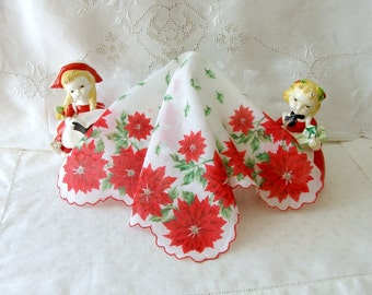 Vintage Red Poinsettia Hanky with Holly and Scalloped Edge Ladies Hanky, Christmas Hanky