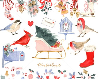 Watercolor Holiday Clip Art for personal and commercial use -Christmas,Santa Sleigh,Bird House,Ice Skating ,Robin,Holly Ivy,Red Cardinal