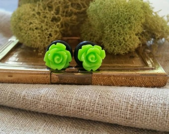 Bridal Plugs, Girly Plugs, Flower Plugs, Green, Roses