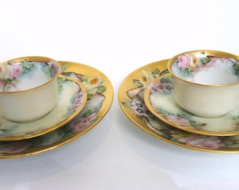 2 R S Germany Dessert Luncheon Sets 14K Gilded Gold with Pink Roses Cups, Saucers, Dessert Plates Hand Painted Fine Porcelain