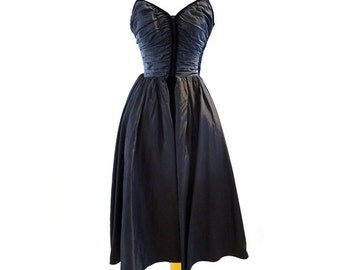1950s Vintage Ceil Chapman Designer-Couture Black Silk-Taffeta Dress