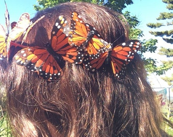 Butterfly crown, hand painted feathers, Monarch butterflies, crown, head piece, boho, festivals,
