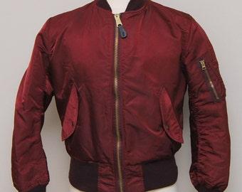 Vintage men's burgundy reversible flyers jacket/ Vint men's burgundy flyers jacket