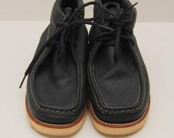 vintage mens Chippewa black leather mocc-toe wedge work boots