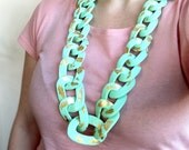 Mint Statement Necklace, Huge Chain Link Necklace, Long Chunky Necklace, Mint Gold Necklace, Polymer Clay Necklace