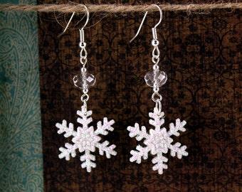 White Snowflake Earrings, Holiday, Secret Santa, Gift for Her, Stocking Stuffer