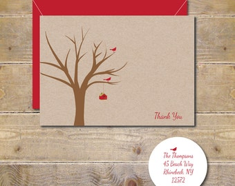 Christmas Thank You Cards, Personalized Stationery, Bird House, Birdhouse, Birds, Cardinals, Thank You Cards, Christmas, Thank You Notes