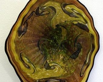 Beautiful Hand Blown Glass Art Wall Platter Bowl 6866  ONEIL