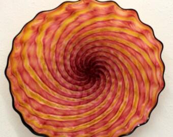 Beautiful Hand Blown Glass Art Wall Platter Bowl 6509  ONEIL