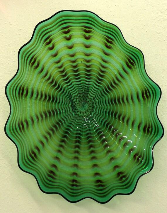 beautiful hand blown glass art wall platter spiral wrap 6490. Black Bedroom Furniture Sets. Home Design Ideas
