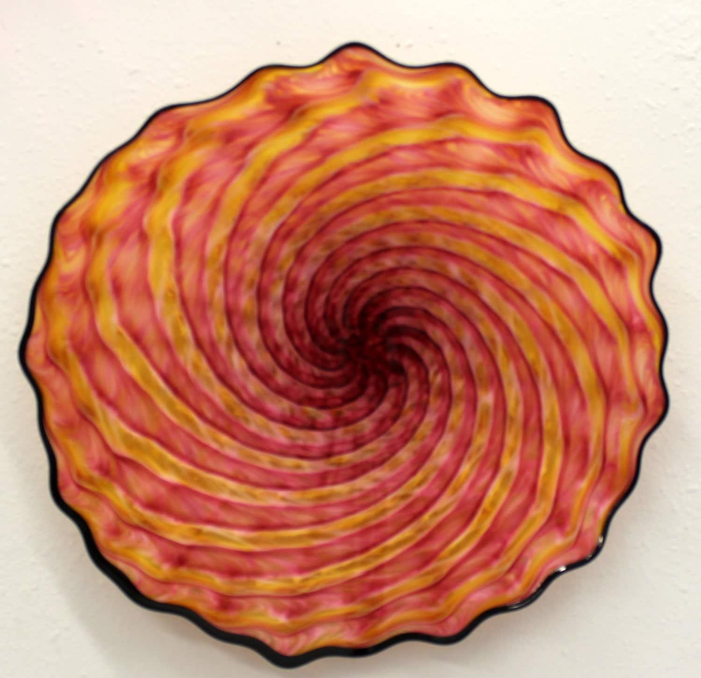 beautiful hand blown glass art wall platter bowl 6509 oneil. Black Bedroom Furniture Sets. Home Design Ideas