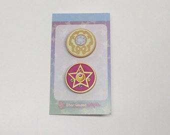 Sailor Moon Pinback Lapel Pin R Crystal Brooch Metallic Gold
